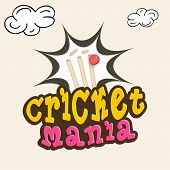 Colorful text Cricket Mania with wicket stumps hitting by red ball on clouds decorated background. poster