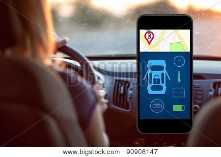 Phone With Interface Auto Alarm On A Screen On A Background Woman Driving A Car