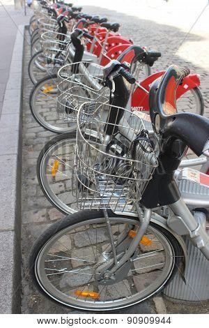 Public Bike System In Lyon France