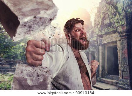 Strong karateka breaks a brick