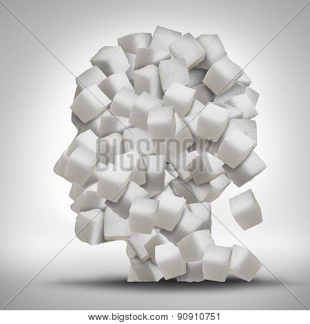 Sugar addiction concept as a human head made of white granulated refined sweet cubes as a health care symbol for being addicted to sweeteners and the medical issues pertaining to processed food. poster