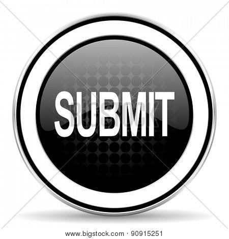 submit icon, black chrome button  poster
