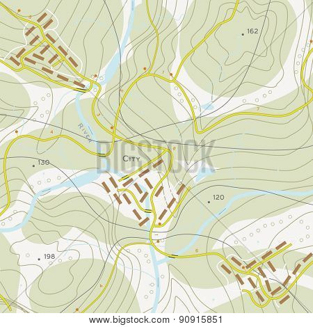 Topographic map of territory with rivers, forests and roads