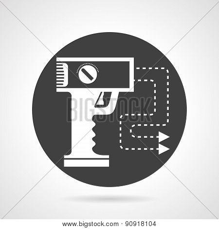 Stun gun black round vector icon