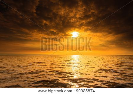 Beautiful seascape evening sea sunset horizon and sky. Tranquil scene. Natural composition of nature. Landscape. poster