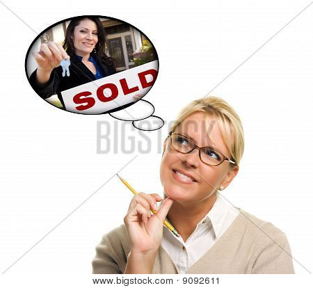 Woman With Thought Bubbles Of Agent Handing Over New Keys