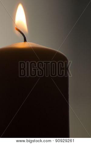Candles Lights Burning Close-up Plain Background