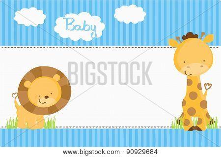 Baby Shower Invitation - Safari Blue