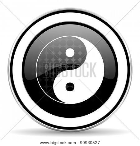 ying yang icon, black chrome button  poster