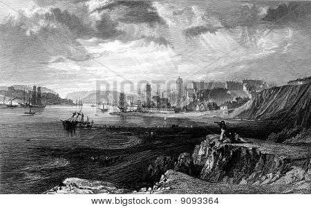 North and South Sheilds coastline at mouth of river Tyne viewed from Teignmouth Rocks Tyne and Wear England. Engraved by William Miller in 1832 public domain image by virtue of age. poster