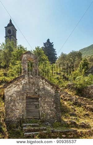 view on old ortodox church at moutains, Montenegro