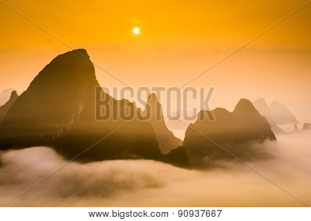 Karst Mountaintops in Guilin, China.