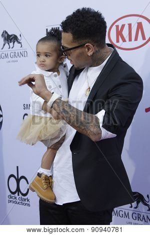 LAS VEGAS - MAY 17:  Chris Brown, his baby at the Billboard Music Awards 2015 at the MGM Garden Arena on May 17, 2015 in Las Vegas, NV