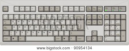 Spanish Qwerty La Computer Grey Keyboard