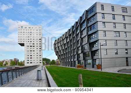 Almere, Netherlands - May 5, 2015: Exterior Of Modern Apartment Buildings In Almere