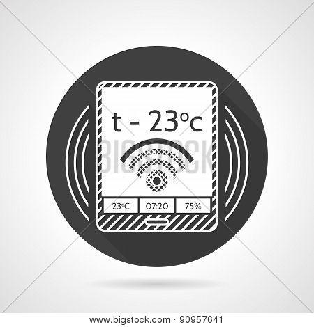 Thermostat black round vector icon