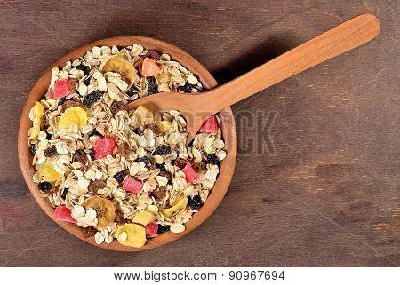 Musli In A Wooden Bowl
