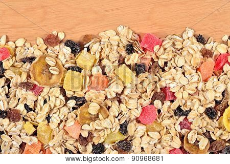 Musli On A Wooden Background