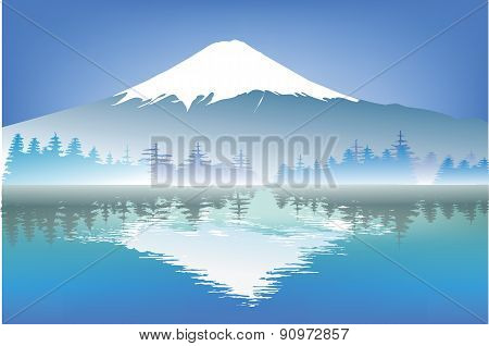 Fuji Mountain With Reflection Water