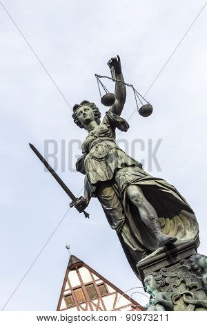 Justitia Statue At The Romer Square