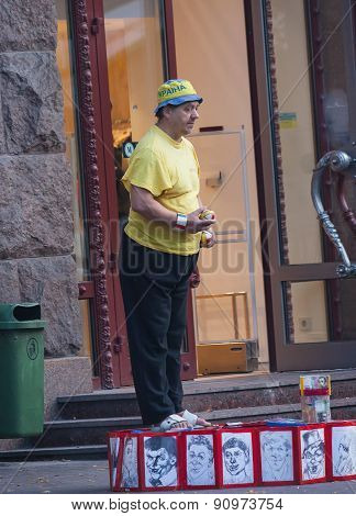 Ukraine, Kiev - September 11,2013: Elderly Clown Entertains Residents And Tourists Near The Independ