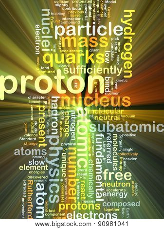 Background concept wordcloud illustration of proton glowing light
