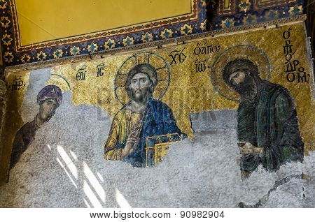 View On Mural In Aya Sofia Temple In Istanbul