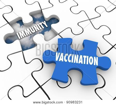 Vaccination word on puzzle piece and hole with Immunity to illustrate preventing disease and sickness with medicine and good health care
