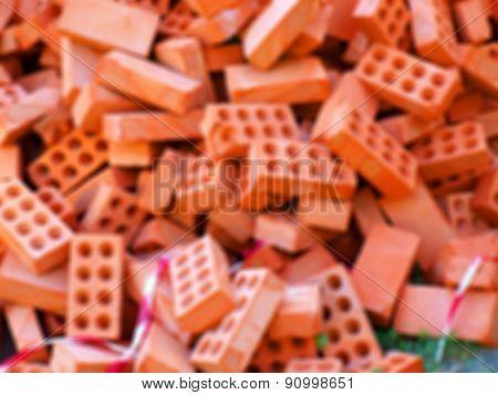 Defocused And Blur Image Of Heap Bricks
