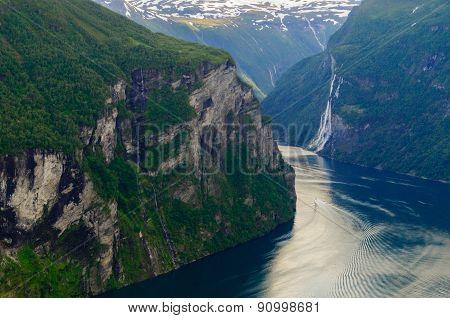 Turn Of Geirangerfjord Near Craggy Rocks