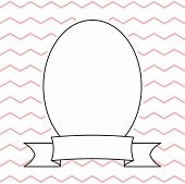 Hand drawn decorative vector empty photo frame on pastel pink and white zig zag background poster