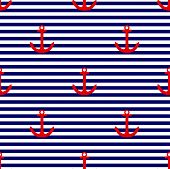 Tile sailor vector pattern with red anchor on navy blue and white stripes background for summer seamless decoration wallpaper poster