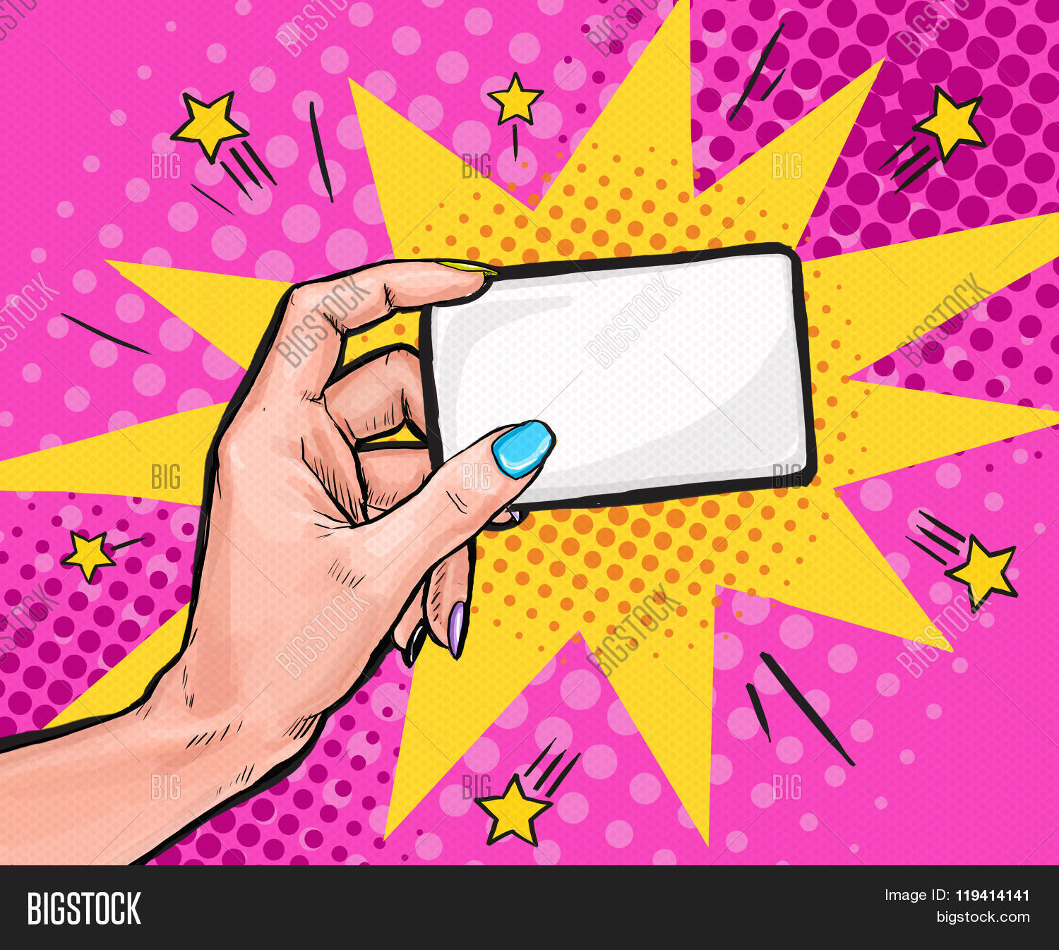 Female Hand Holding A Card In Pop Art StylePop Background Party Invitation Create Lightbox