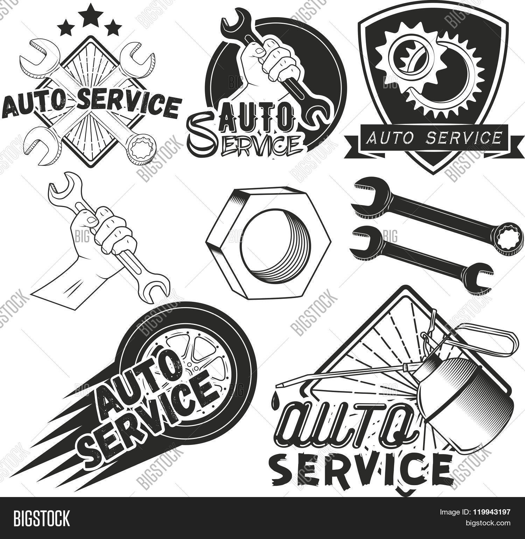 Vector Set Auto Service Labels Vector & Photo | Bigstock