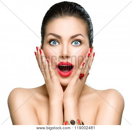 Beauty Fashion surprised Woman portrait. Beautiful model girl with perfect make up exited, screaming and open and mouth. Headshot. Emotions. Isolated on a white background