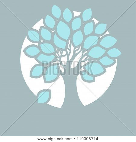 Stylized Abstract Tree In Round.