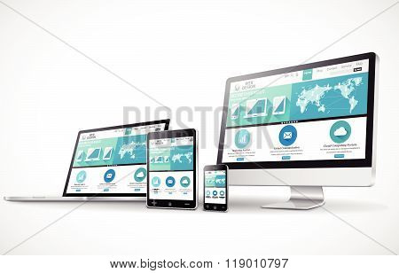 Web design concept with modern devices mockup