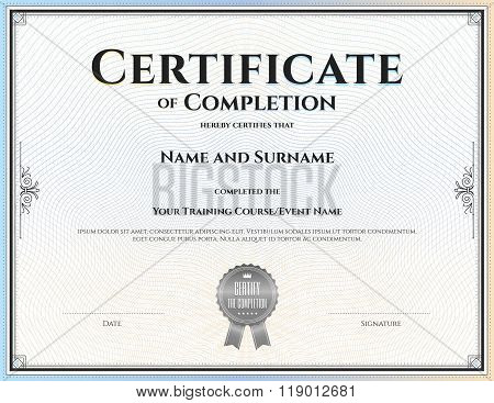 Certificate Of Completion Template In Vector For Achievement Graduation Completion
