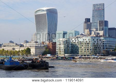Walkie-Talkie Tower and River Barges, London, England