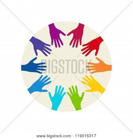 People Colorful Hands United Together. Illustration Of Teamwork