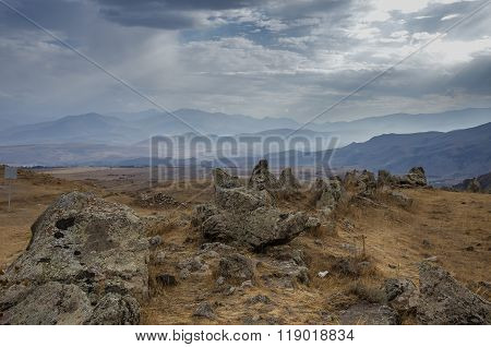 Big Megalithic Menhirs Of Zorats Karer (carahunge) - Prehistory Megalithic Monument In Armenia
