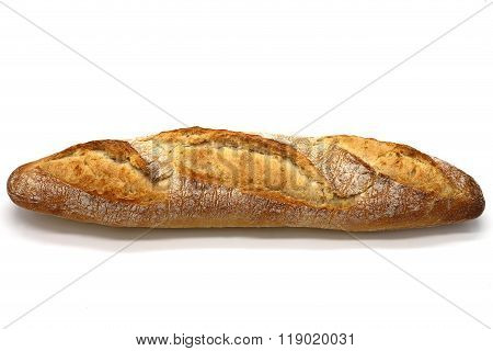 Crusty baguette on the white isolated background