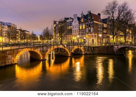 Amsterdam Canals West side at dusk Netherlands