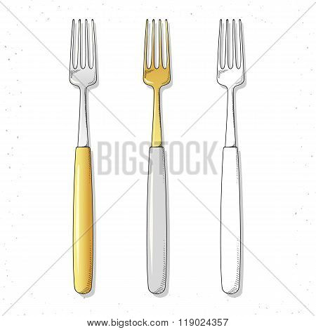 Set realistic sketch forks. Plugs to create design.  Cutlery handmade