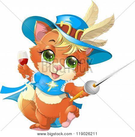 kitten musketeer with sword