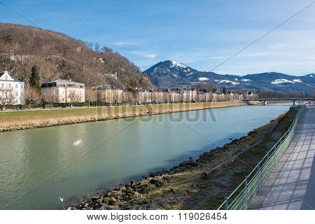 View In Salzburg On River Salzach And Historic Houses