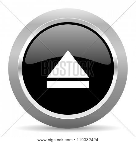 eject black metallic chrome web circle glossy icon
