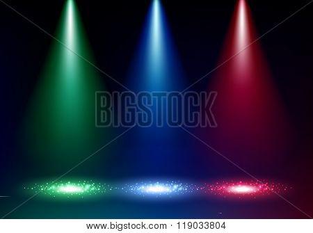 Colorful spotlights background vector illustration.