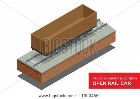 Open rail car for transportation of bulk cargoes. Rail covered wagon. Vector isometric illustration