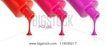Three types of nail polish pouring from a bottle